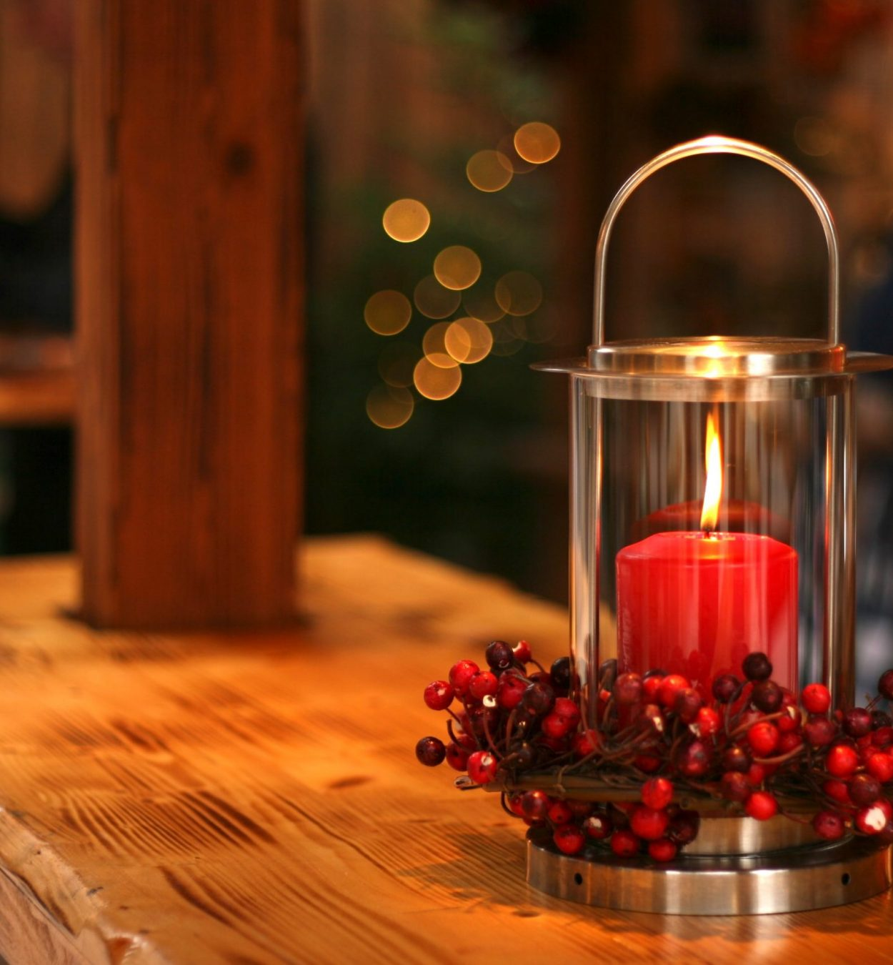 Single Red Candle with Berries